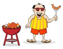 Man having barbecue in the summer. Vector illustration of a man having barbecue in the summer Royalty Free Stock Photos