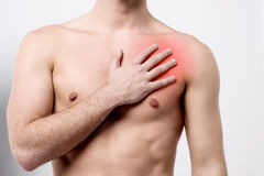 Man having chest pain, heart attack. Stock Photography