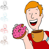 Man Having Coffee and Donut Stock Image