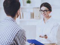 Man Having Conversation with his Psychotherapist royalty free stock photography