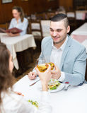 Man having dinner with girl Stock Photo