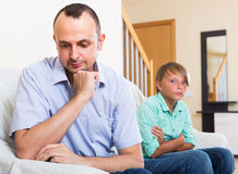 Man having domestic problems with son Stock Image