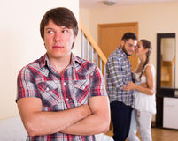 Man having domestic quarrel with partners Stock Images