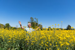 Man having freedom in nature Stock Photo
