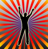 Man Having Fun 2. Silhouette of a man dancing and having fun Royalty Free Stock Photos