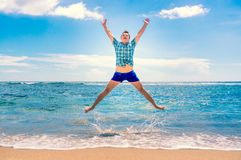 Man having fun at the beach Royalty Free Stock Photo