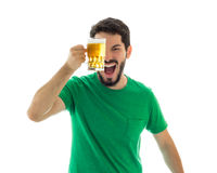 Man having fun with bier mug. Royalty Free Stock Images