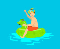 Man having fun in pool, floating on childrens inflatable dragon ring, Royalty Free Stock Image