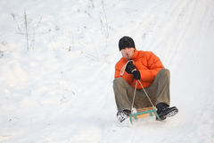 Man having fun in snow Royalty Free Stock Images