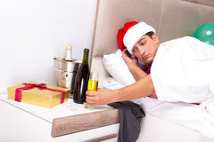The man having hangover after night party Royalty Free Stock Images