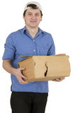 Man with having a hole cardboard box Royalty Free Stock Image