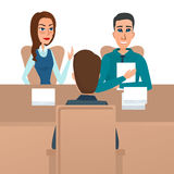 Man having a job Interview with HR specialists and a boss. Royalty Free Stock Images