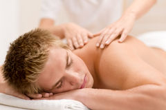Man having luxury back massage Royalty Free Stock Photo