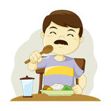 Man Having a Meal. Vector illustration of a man eating his meal royalty free illustration