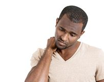 Man having neck pain Royalty Free Stock Photography