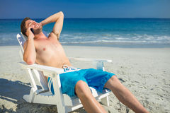 Man having phone call at the beach Stock Image