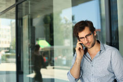 Man having phone conversation Stock Photography