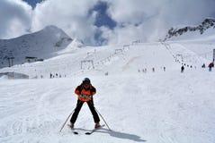 Skiing on Kitzsteinhorn Glacier, Hohe Tauern, Austria Royalty Free Stock Photography