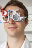 Man Having Sight Test At Optometrist Stock Images