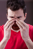 Man having sinus pain Stock Photography
