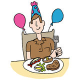 Man having steak and lobster for his birthday Royalty Free Stock Image