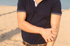 Man having a sun allergy royalty free stock images