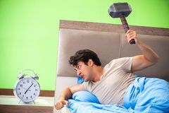 The man having trouble with his sleep stock photo
