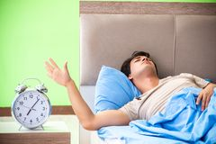 The man having trouble with his sleep stock photos