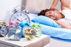 The man having trouble waking up in morning Royalty Free Stock Photo