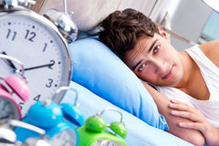 The man having trouble waking up in morning Royalty Free Stock Photos