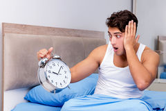 The man having trouble waking up in morning Royalty Free Stock Images