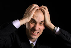 Man having very painful headache Stock Image