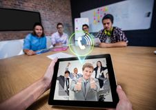 Man having a video with his colleagues on digital tablet Royalty Free Stock Photography