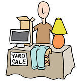 Man having a yard sale Royalty Free Stock Photography