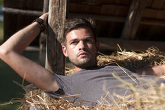 Man on hay. Handsome caucasian young man in the hay barn Royalty Free Stock Images