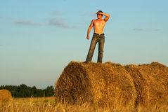 Man on haystack Royalty Free Stock Images