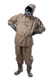Man in Hazard Suit wondering. A man wearing an NBC Suite (Nuclear - Biological - Chemical royalty free stock images