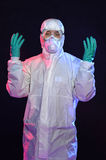 Man in Hazmat Suit with Gloves and Goggles Stock Image