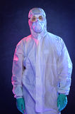 Man in Hazmat Suit and Protective GEar Stock Images