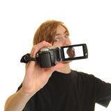 Man with HD Camcorder Royalty Free Stock Photos