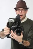 Man with HD SLR camera Royalty Free Stock Images