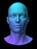 Man head. Blue 3d man head on black background Royalty Free Stock Image