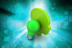 Man head with bulb, new idea concept Royalty Free Stock Photo
