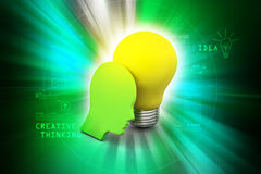 Man head with bulb, new idea concept Stock Image