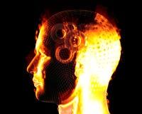 Man head burning Royalty Free Stock Photo