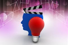 Man head clapboard with light bulb, new idea concept. In color background Royalty Free Stock Photography