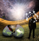 Man with head in clouds earth egg Royalty Free Stock Photo