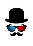 Man Head with 3d glasses and mustache Stock Images