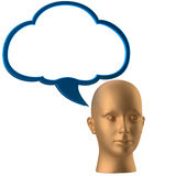 Man head and drawing cloud Royalty Free Stock Photography
