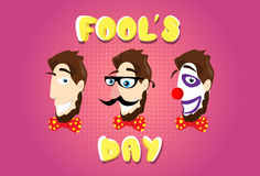 Man Head Fake Mustache Glasses Bow Tie Clown Make Up First April Fool Day. Happy Holiday Flat Vector Illustration Stock Photo